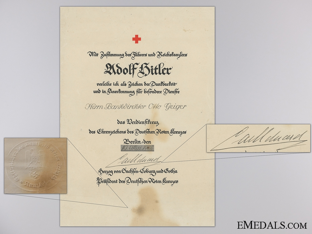 Award Documents to Otto Geiger; 1st & 2nd Class Red Cross; Italian Crown Order