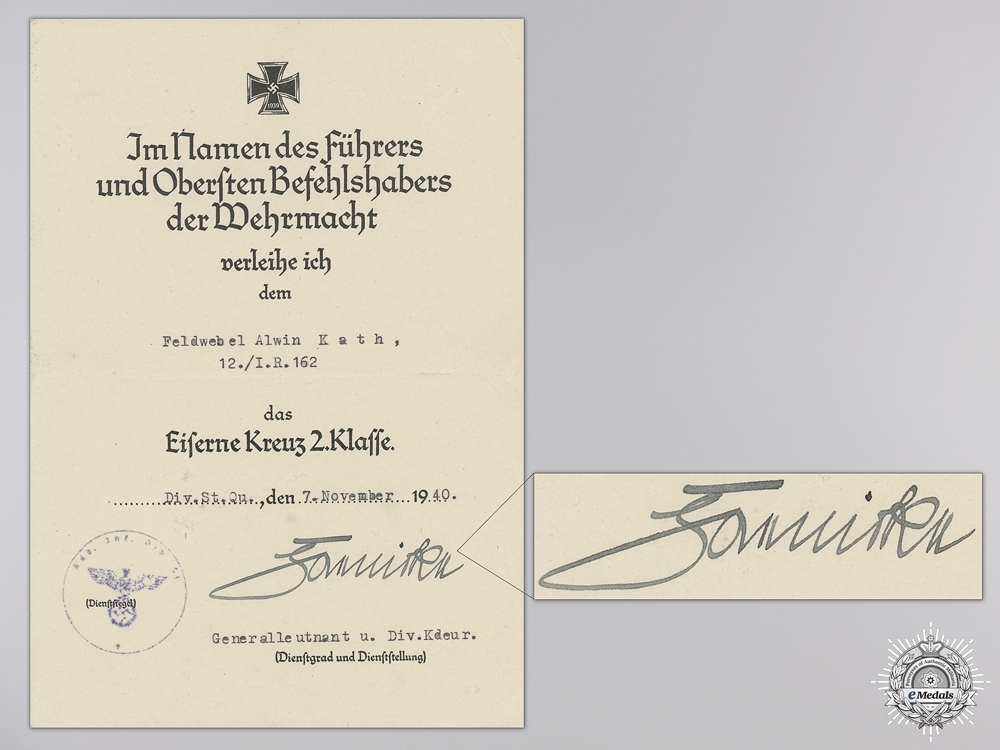 Two Second War Award Documents to the 162nd Infantry Regiment