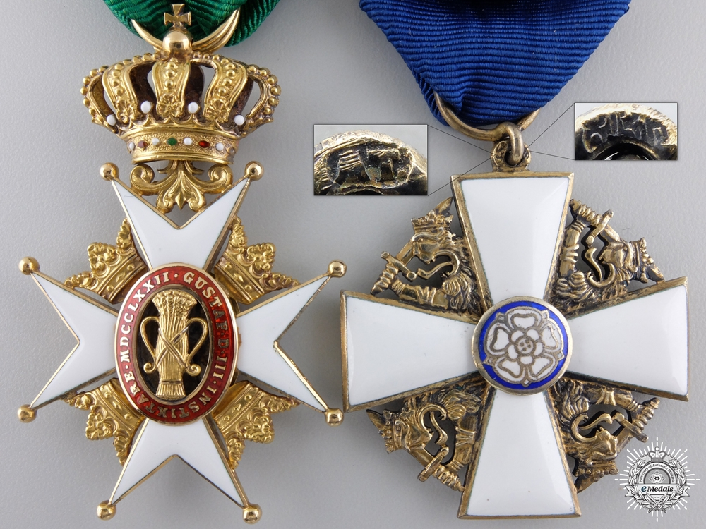 A 1926 Gold Swedish Order of Vasa Pair