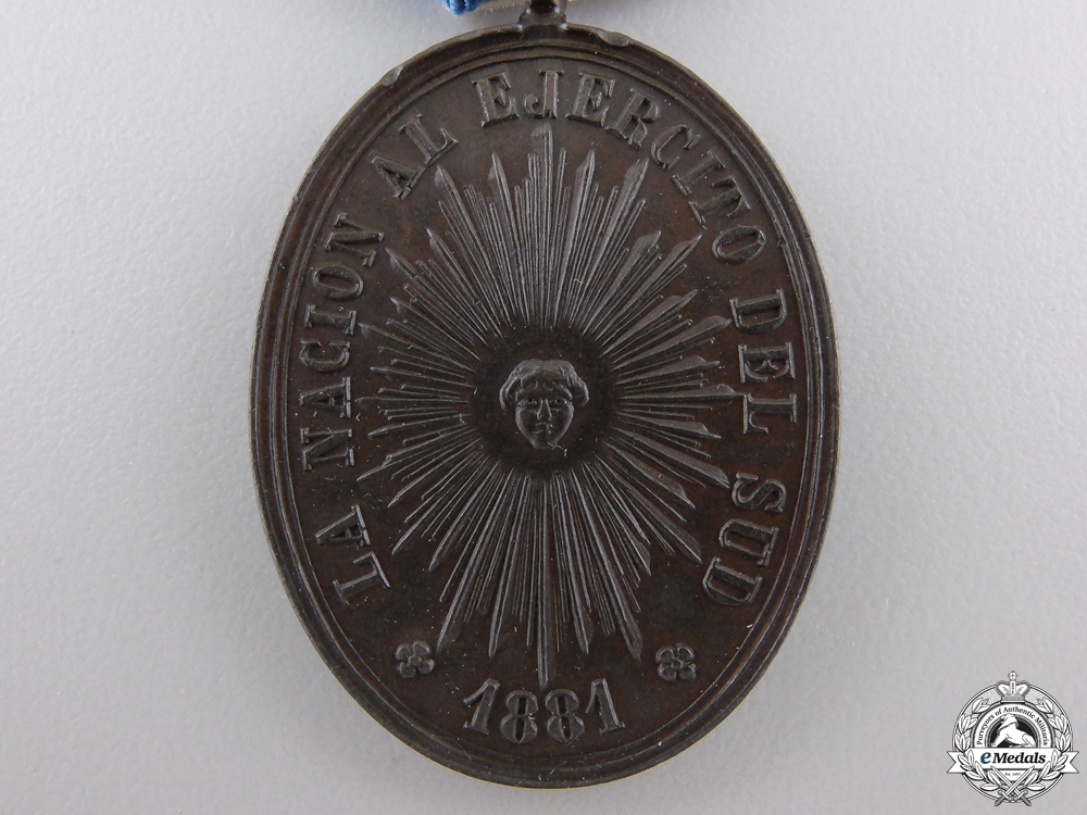An 1881 Argentinian Rio Negro and Patagonia Medal