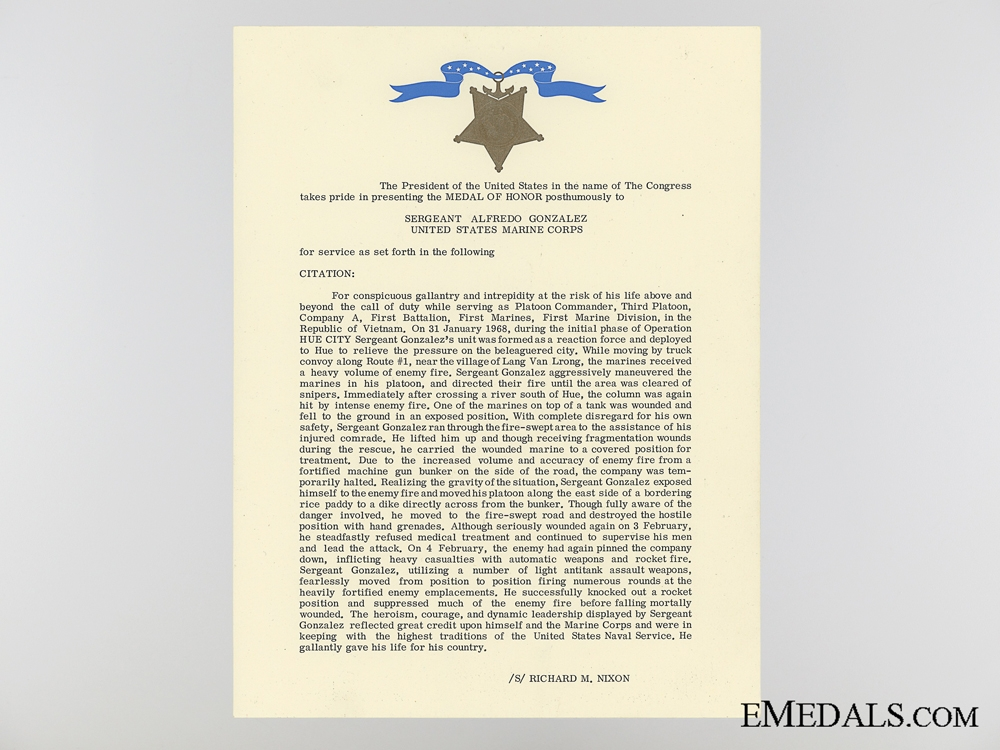 1968 Naval Congressional Medal of Honor Document