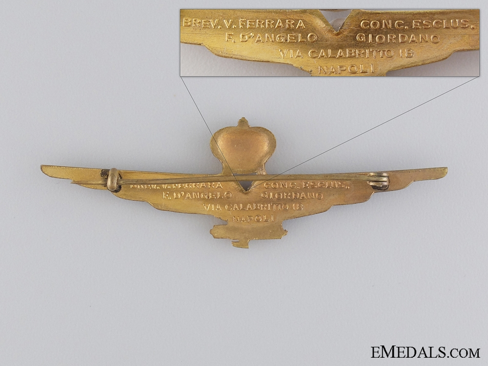 An Italian Fascist Pilot Qualification Badge with Cased