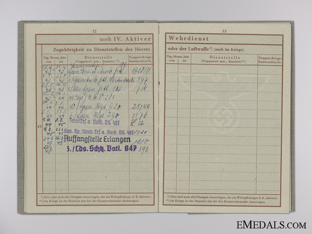 A Wehrpass & Records to the  73rd Division; Grenade Wound