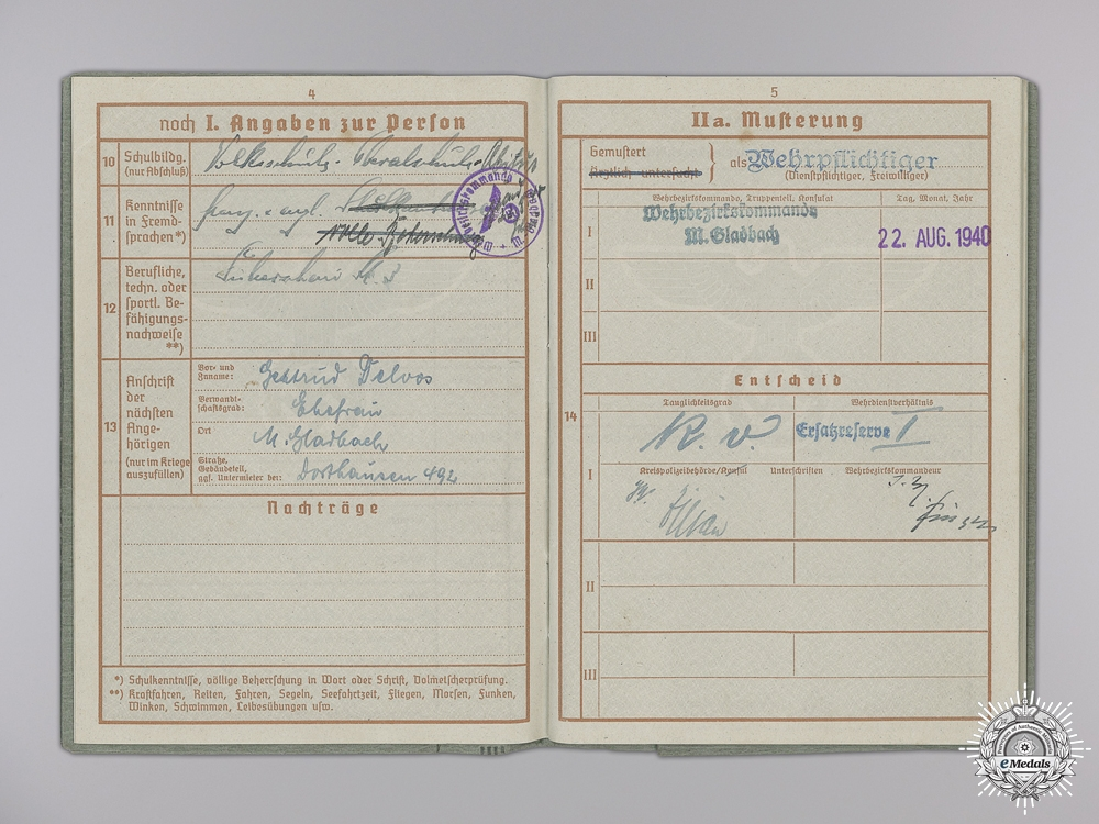 A Wehrpass to Hermann Delvos: Stalag 369 Camp Guard