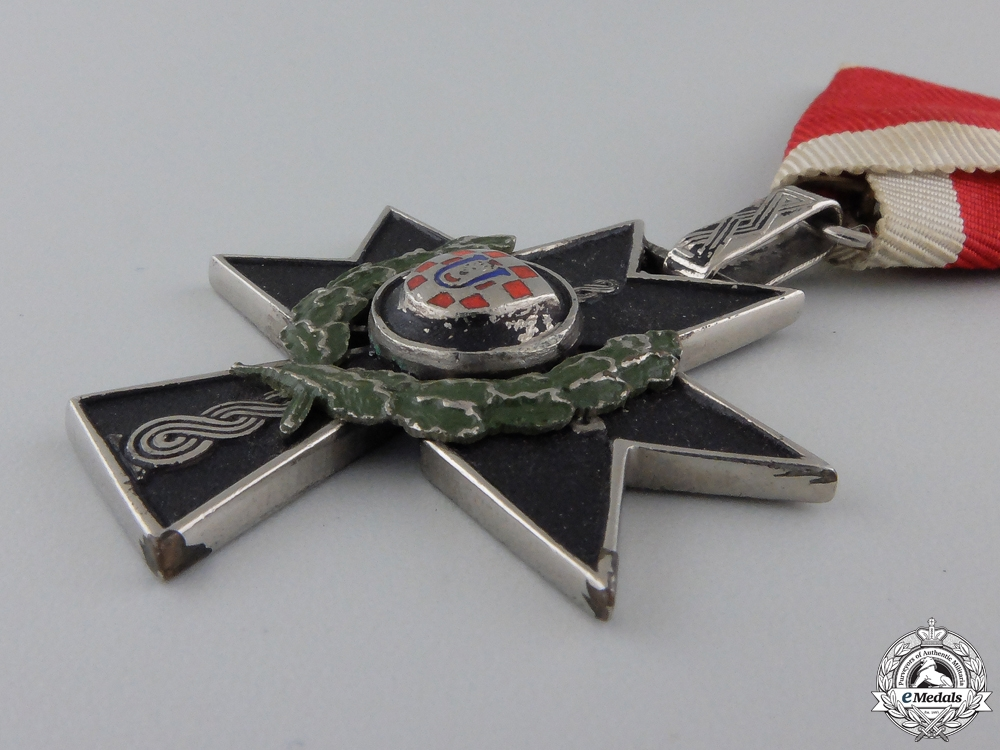 A Croatian Order of Iron Trefoil; Fourth Class for Gallantry