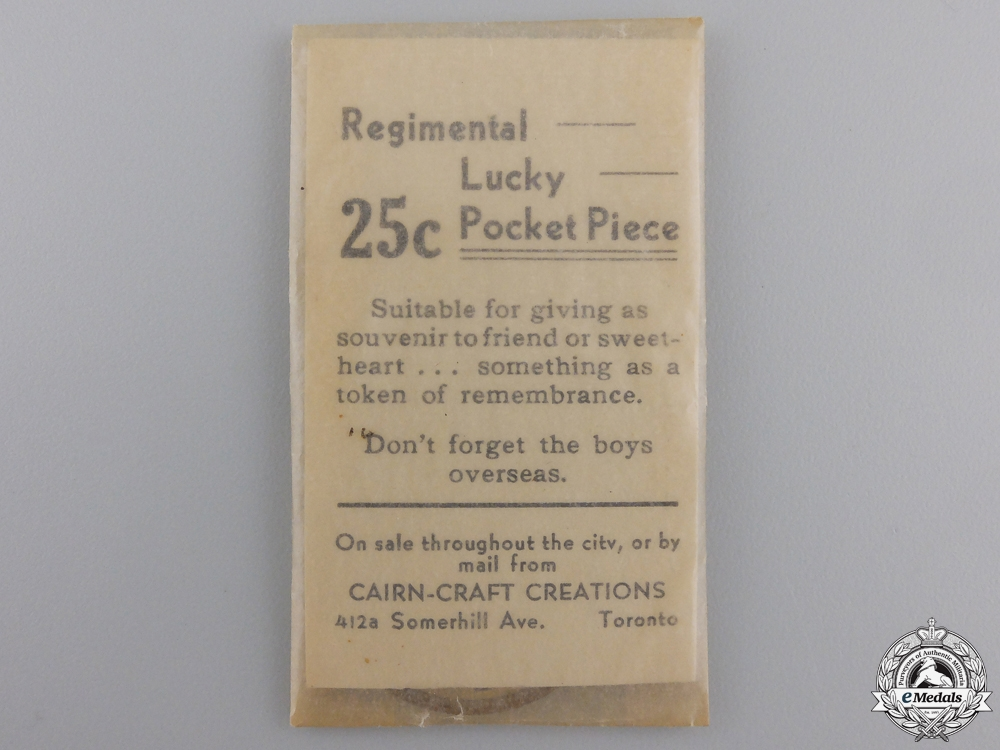 A WWII 48th Highlanders Regimental Lucky Pocket Piece by Cairn-Craft of Toronto