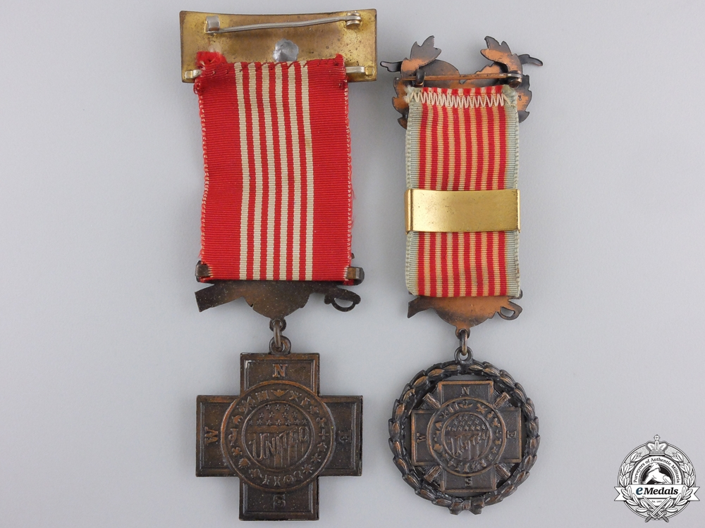 Two United Spanish War Veterans Officer's Membership Medals
