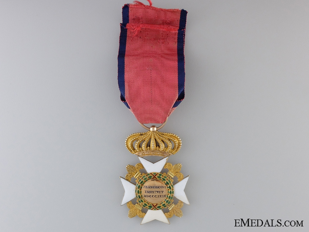 An Early Sicilian Royal Order of Francis I; Officers Cross c.1830