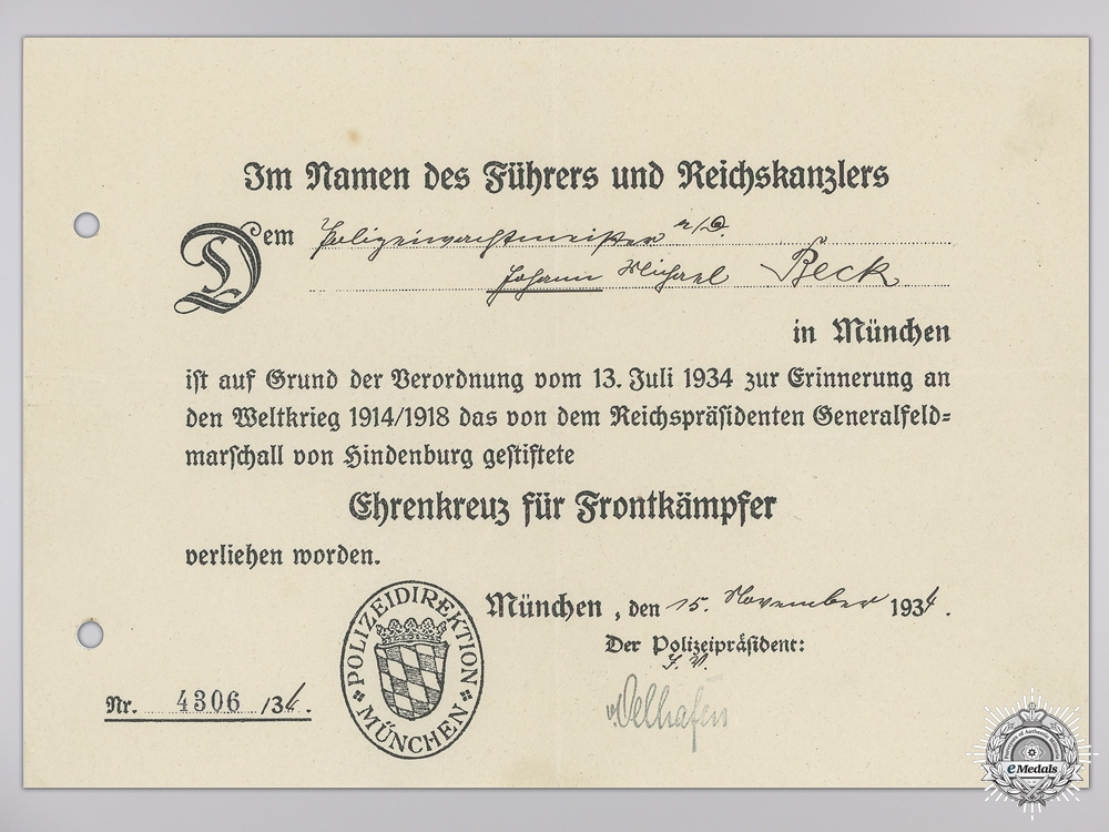 An Document Group to 11th Royal Bavarian Regiment
