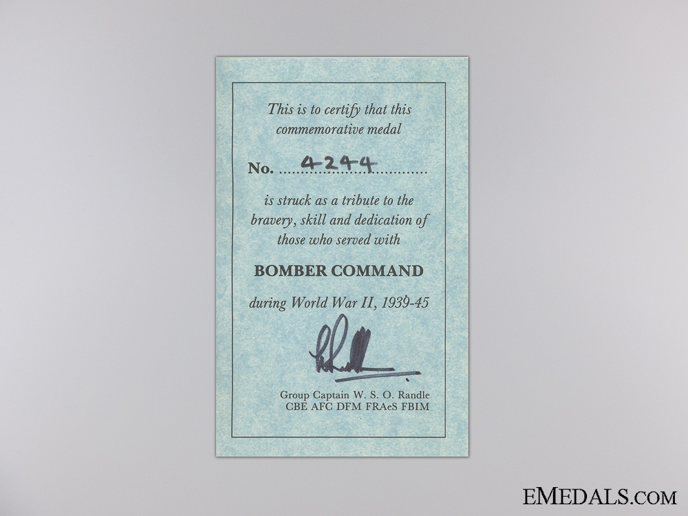 A WWII British Bomber Command Medal 1939-1945
