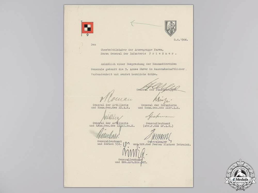 A Document Group to Knight's Cross with Oak Leaves Recipient
