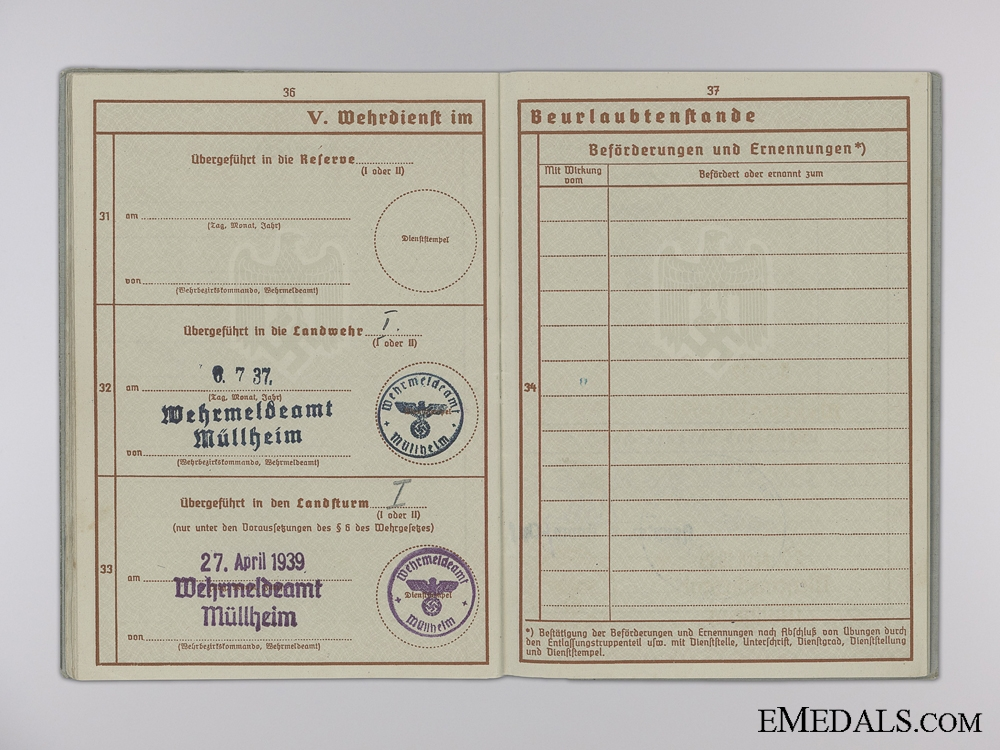 A Wehrpass & Records to the 847th Battalion