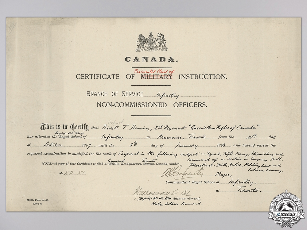 A Group of  Queen's Own Rifles of Canada Documents
