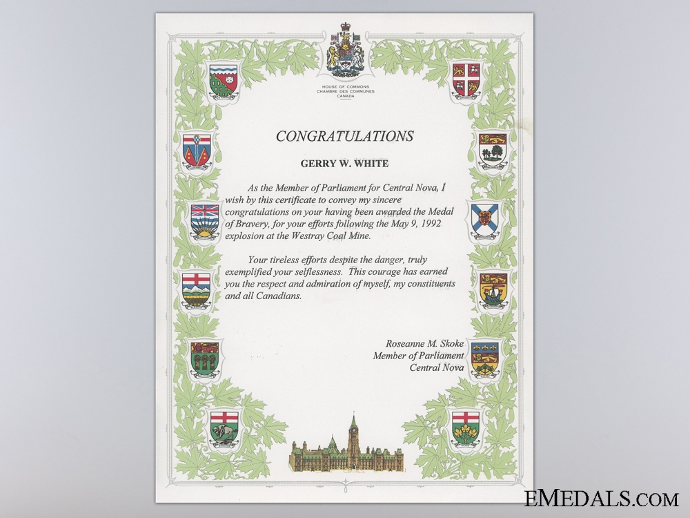A 1992 Canadian Medal of Bravery for the Westray Mine Disaster