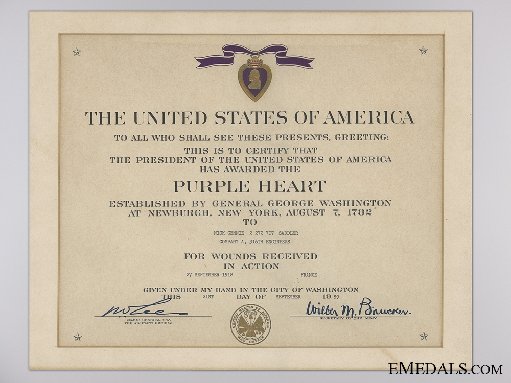 An American WWII Purple Heart Group; Wounded in France