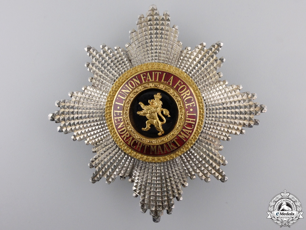 A Belgian Order of Leopold I;  Grand Cross set of insignia by P. De Greef,