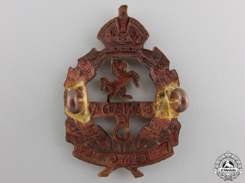 """A First War 5th Infantry Battalion """"Western Canadian Cavalry"""" Cap Badge"""