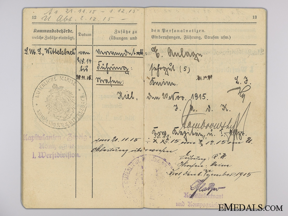 A First War Submariner Collection to Maschinistsmaat Max Detlef Johannes
