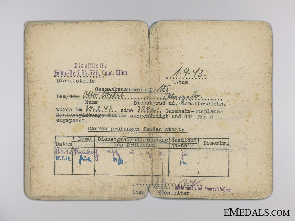 A Soldbuch to the 695th Heavy Flak Battalion; Captured
