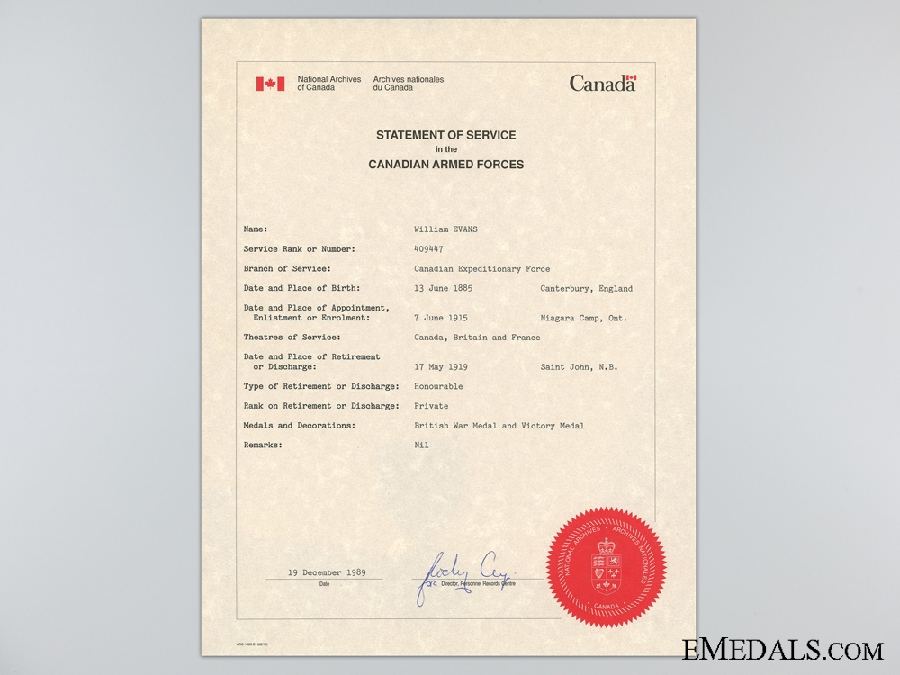 A First War Medal & Document Group to the 26th Canadian Infantry
