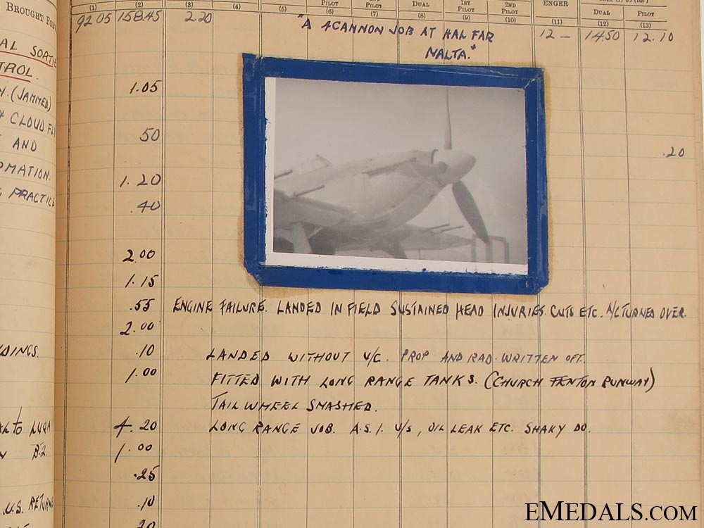 An Evocative RAF Log Book to a Canadian - Air Victories