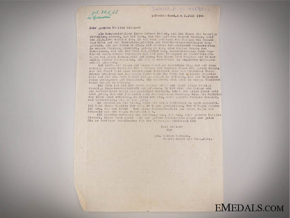 The Awards, Documents &  Knochensack to Lt.Wamsler of the 13th Fallschirm J.R.4 Group