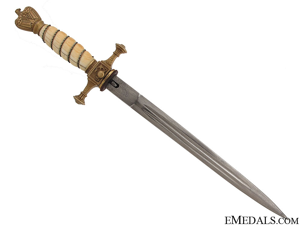 Navy Dagger with Ivory Grip & Damascus Blade