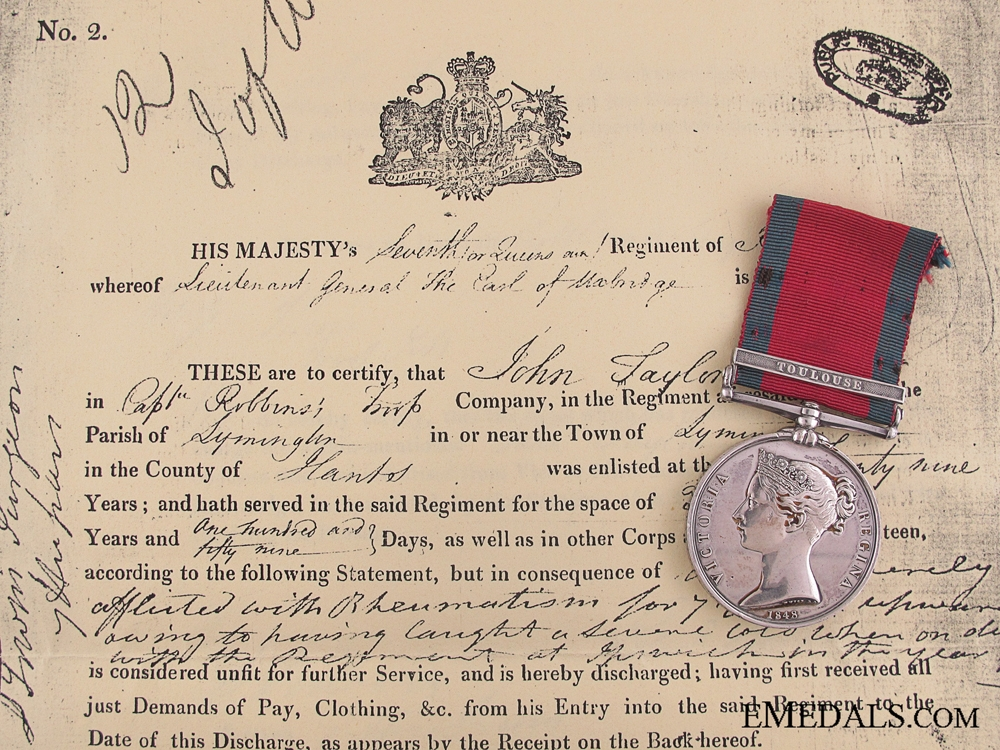 Military General Service to the 7th Light Dragoons  Consignment: 7