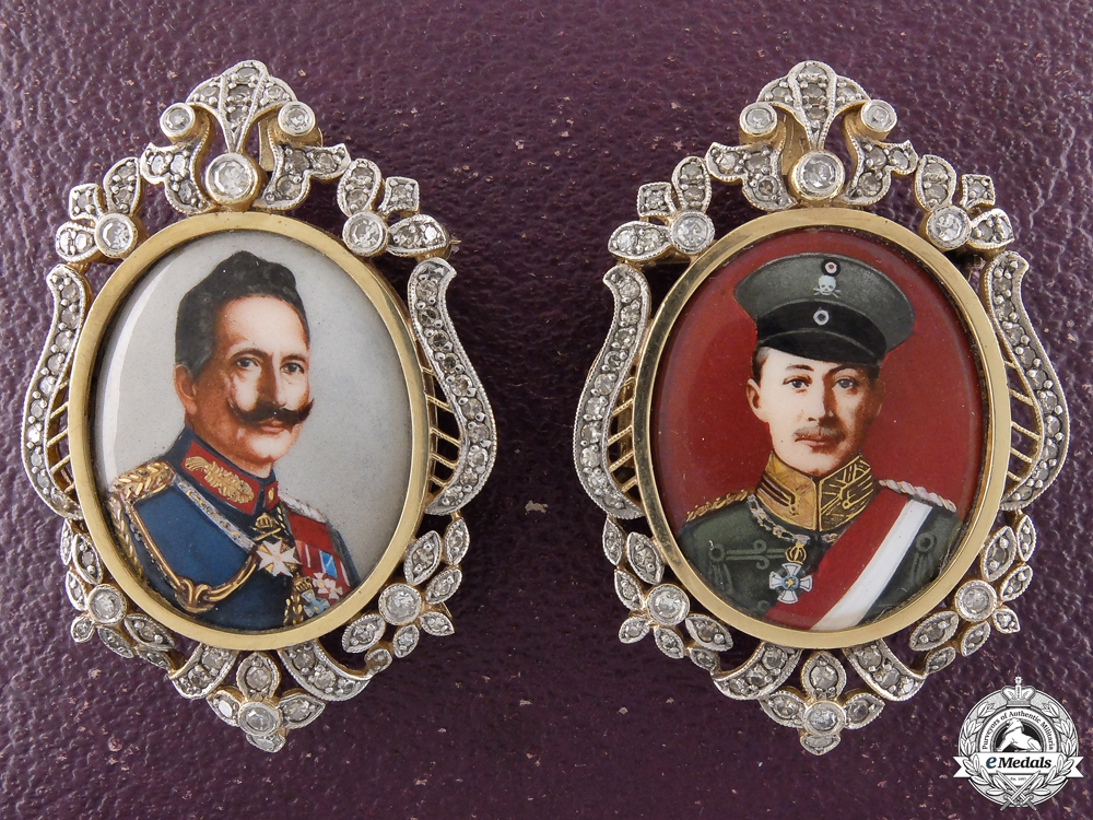 Miniature portraits of German Emperor Wilhelm II and Prince Wilhelm in Gold
