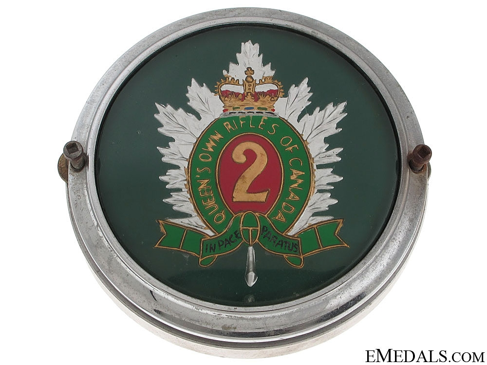 Queen's Own Rifles of Canada Automobile Grill Badge