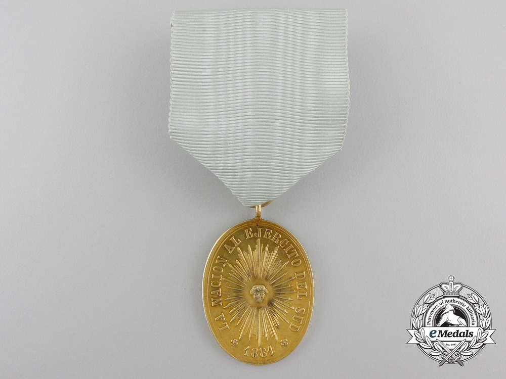 An 1878-81 Rio Negro and Patagonia Campaign Medal in Gold