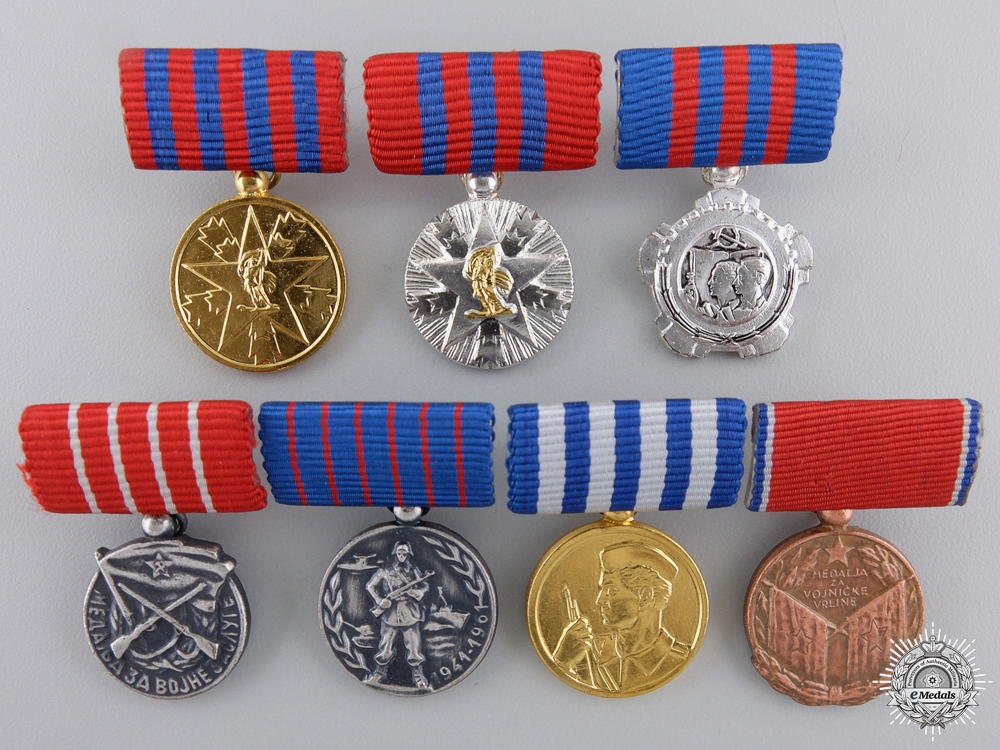 Seven Yugoslavian Miniature Orders and Medals