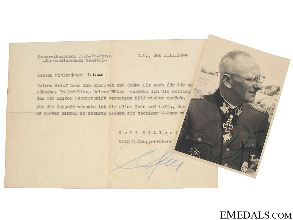 SS Generalleutnant H.O.Gille Signature