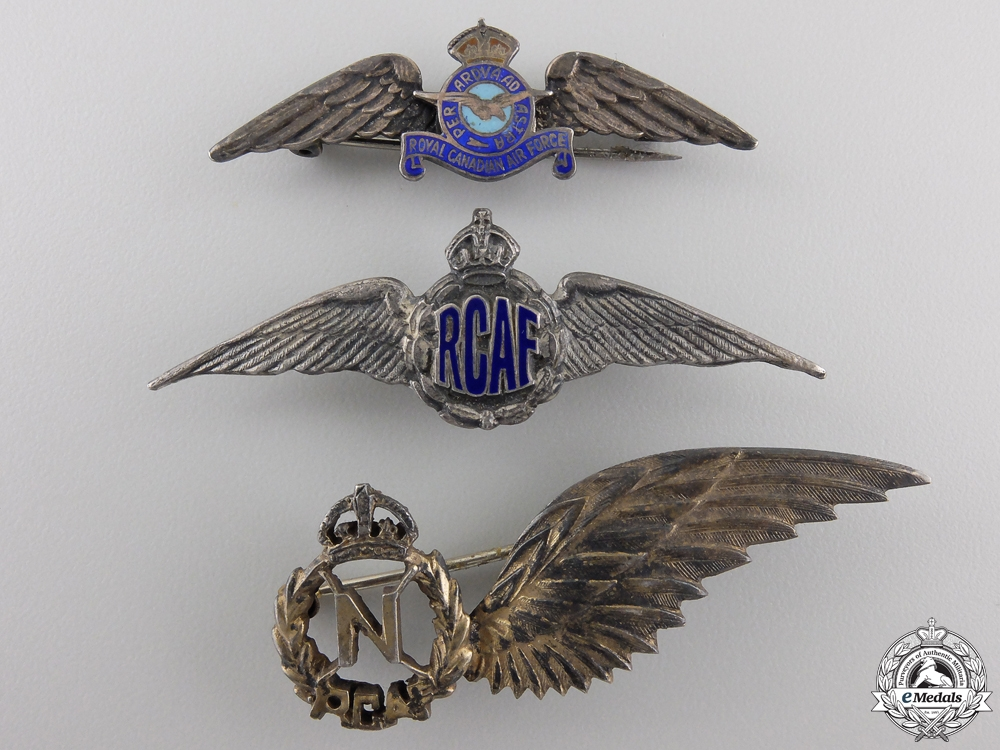 Three Second War Royal Canadian Air Force (RCAF) Wings