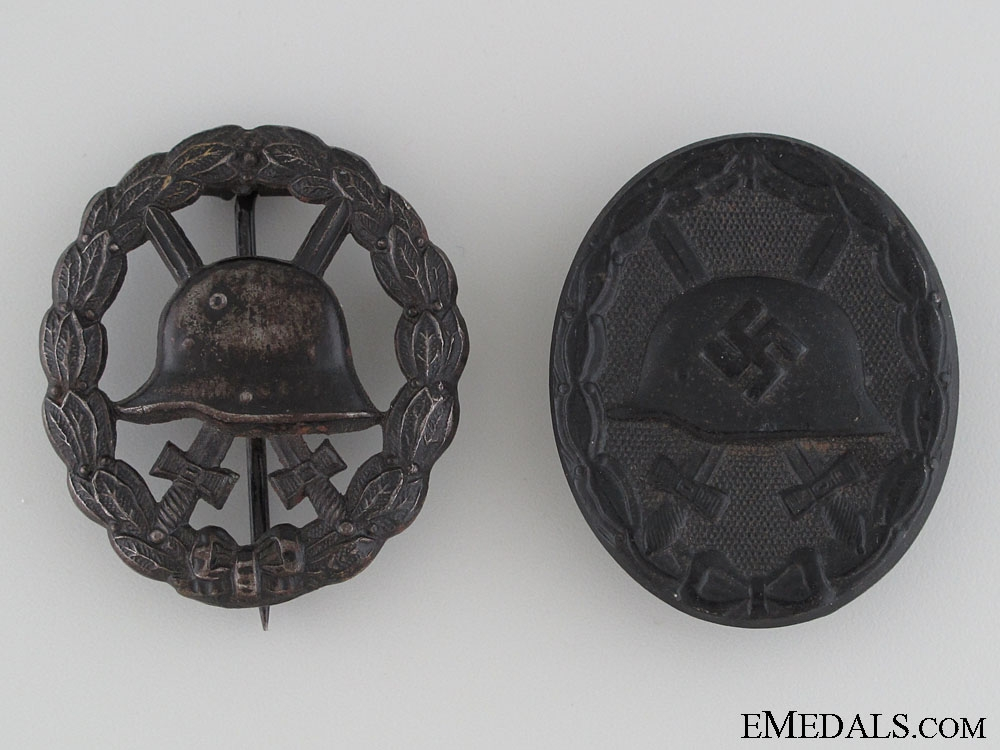 Two Black Grade Wound Badges