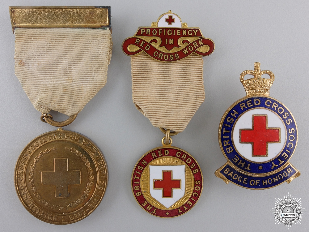 Two British Red Cross Society Medals and One Badge