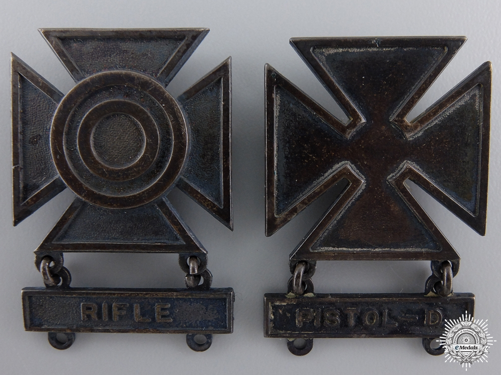 Two First War Sterling Silver Army Marksmanship Badges