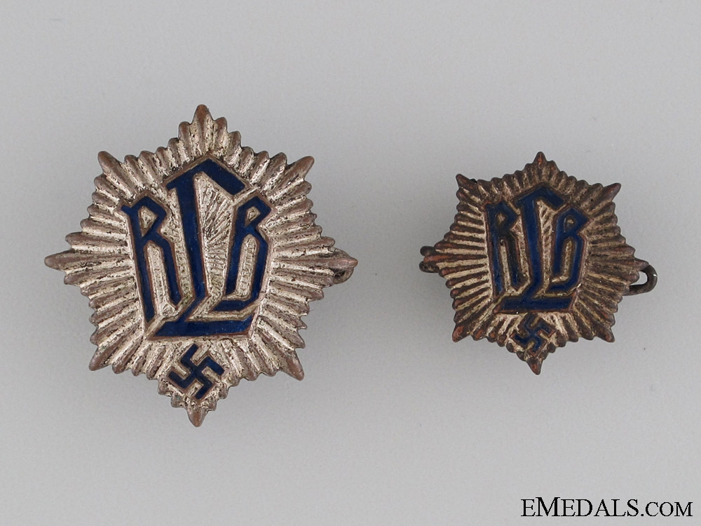 Two German Air Protection Federation (RLB) Pins
