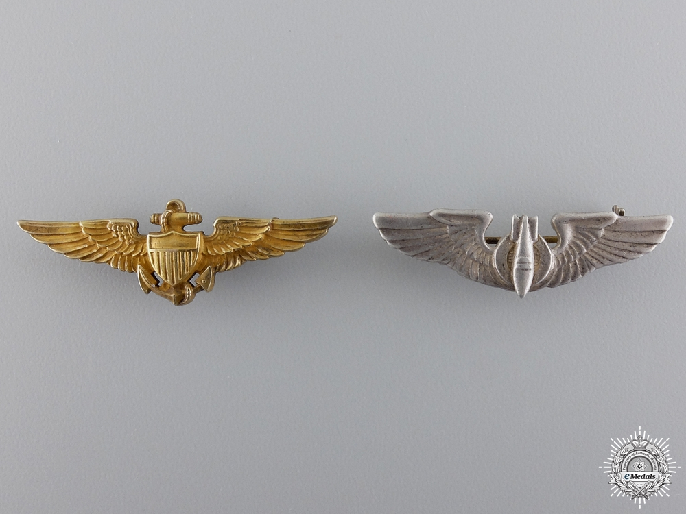 Two Second War American Silver Wings; Reduced Versions