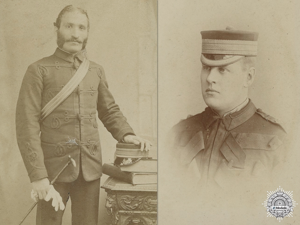 Two Victorian British Army Officers Photographs