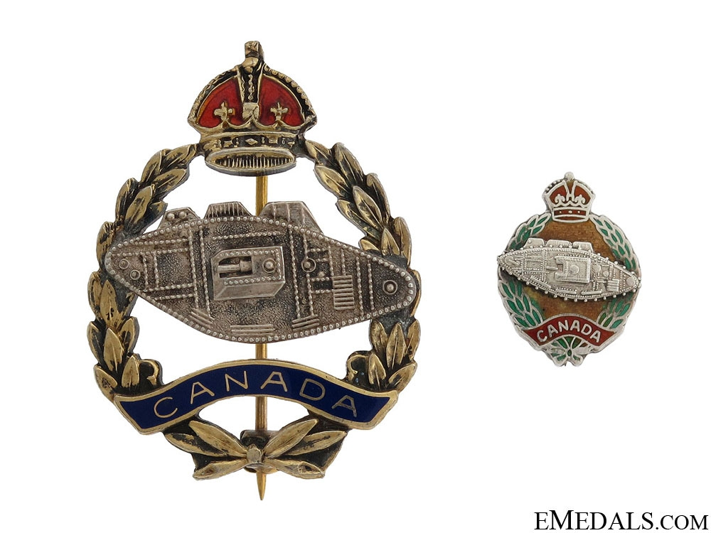 Two WWII Canadian Tank Corps Pins