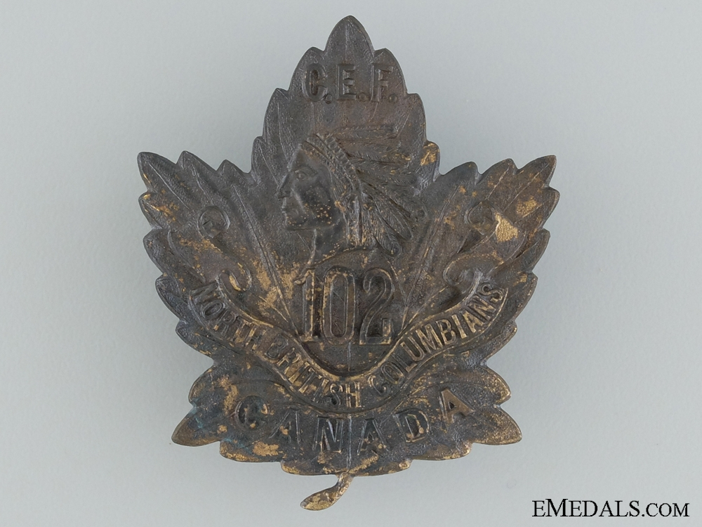 "WWI 102nd Infantry Battalion ""North British Columbians"" Cap Badge CEF"