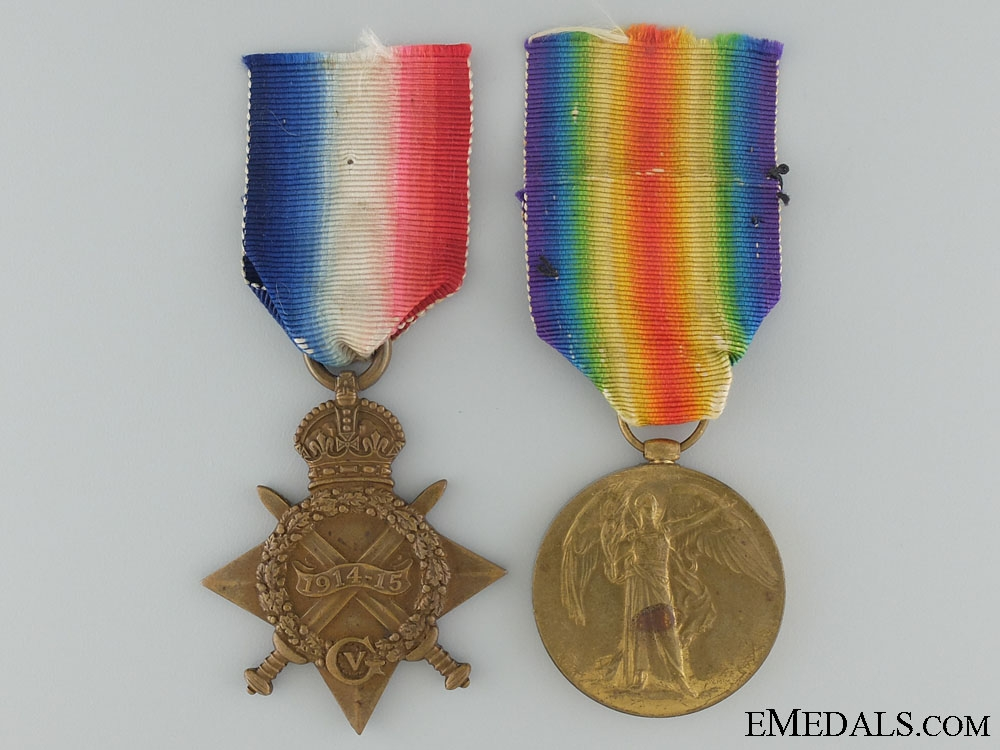 WWI 1914-15 Pair to the King's Royal Rifle Corps