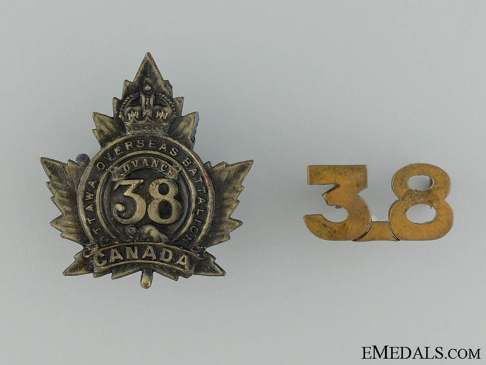 WWI 38th Infantry Battalion Cap Badge and Collar Insignia