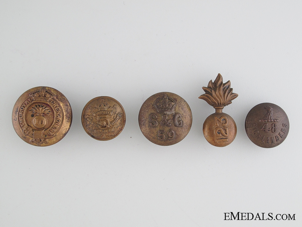 WWI Four CEF Buttons and Collar Tab
