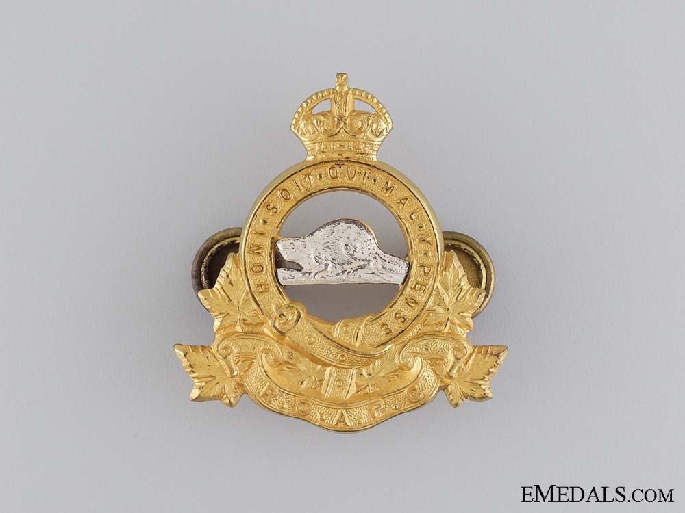 WWII Royal Canadian Army Pay Corps (RCAPC) Officer's Cap Badge