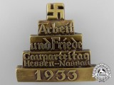 A 1933 Hesse-Nassau District Labour and Peace Party Convention Tinnie