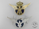 Two Spanish Military Transport Pilot's Badges; Franco Period