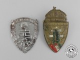 Two Hungarian Levente (Hungarian Equivalent of the Hitler Youth) Cap Badges