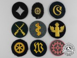 Three Kriegsmarine and Six Army (Heer) Trade and Proficiency Badges